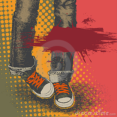 Background with jeans and sneakers