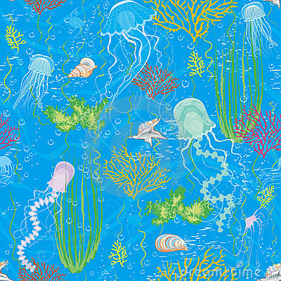 Background with jellyfishes