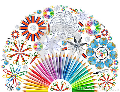 Background with kaleidoscope of school supplies