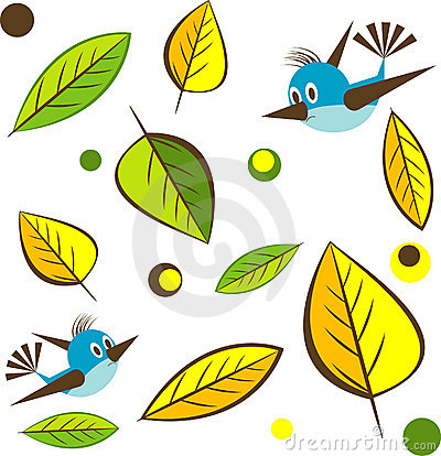 Background with leaf , bird. Vector Illustratio
