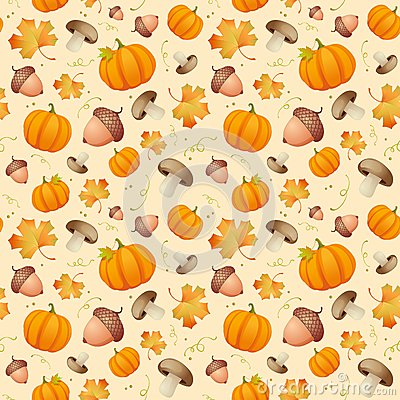 Background with leaves, acorns and pumpkins.