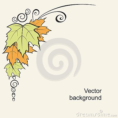 Background with leaves and curls