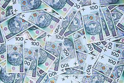 Background made of 100 pln banknotes
