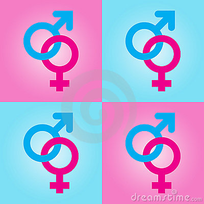 Background with male and female symbols