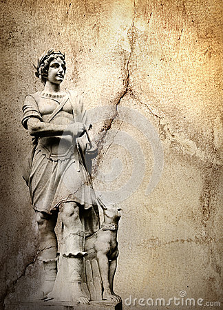 Background with man sculpture