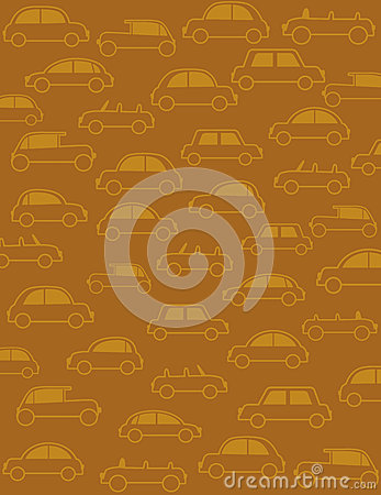 Background with many cars in retro style