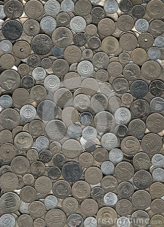 Background of miscellaneous nickel coins