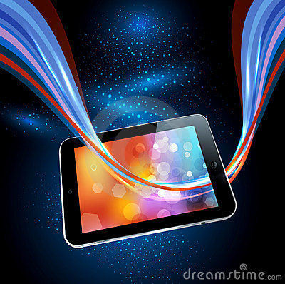 background with a modern tablet