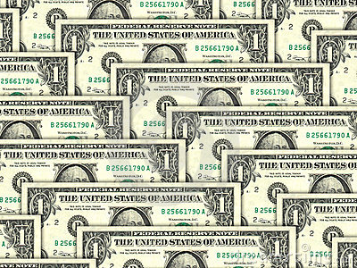 Background of money pile 1 USA dollars
