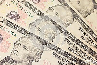 Background with money US 10 dollar bills