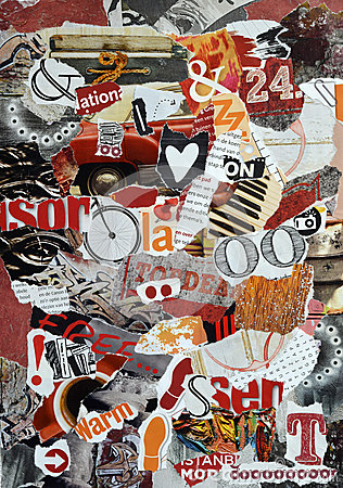 Free Background Mood Board Collage Made Of Teared Magazines In Red,orange And Black Colors Stock Image - 63237311