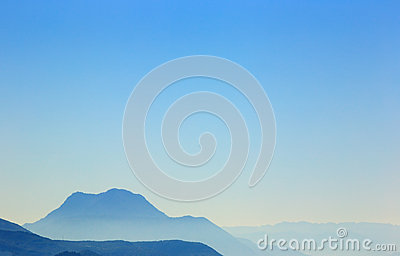 Background of mountains and blue sky