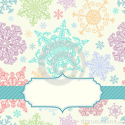 Background with multicolored snowflakes