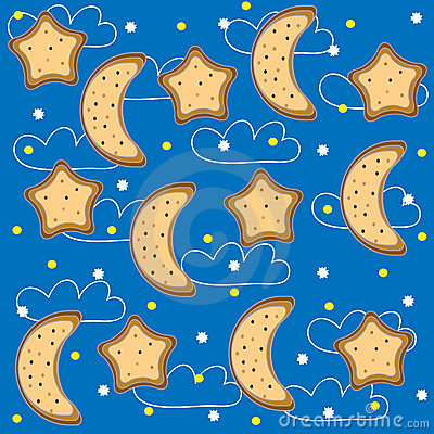 Background of night with stars and  month. Vector