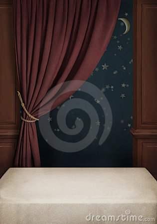 Free Background Of The Room With Table, Window And Cur Royalty Free Stock Photos - 23275128