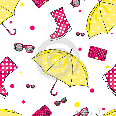 Free Background Of Umbrellas, Rubber Boots, Handbags And Eyewear. Spring And Autumn Shoes And Accessories. Stock Photo - 84355710