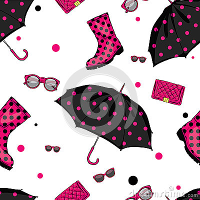 Free Background Of Umbrellas, Rubber Boots, Handbags And Eyewear. Spring And Autumn Shoes And Accessories. Royalty Free Stock Photos - 84359598