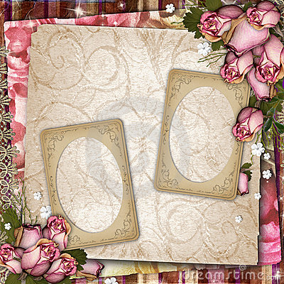 Background with old frames and dried roses