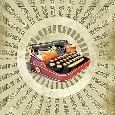 Background with old typewriting machine