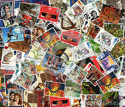 Background of old used British postage stamps