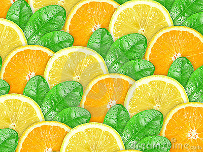 Background of orange and lemon with green leaf