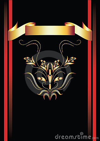 Background with ornament and golden ribbon.