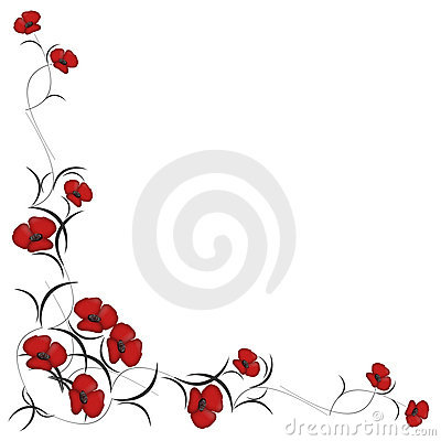 Background with pattern of red flowers