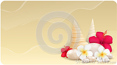 Background with pebbles and tropical flowers