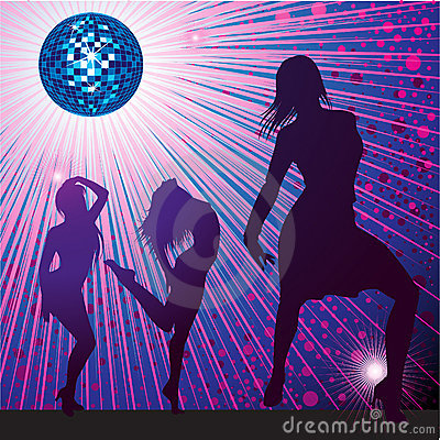 Background with people dancing in night-club
