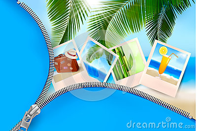 Background with photos from holidays on a seaside.
