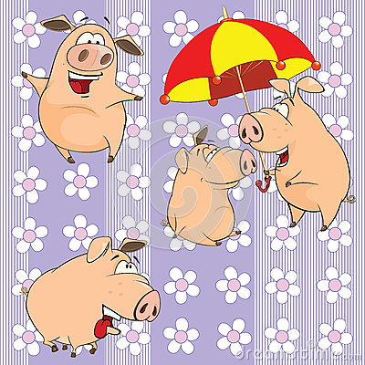 A background with pigs seamless pattern Vector Illustration
