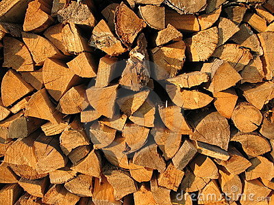 Background: pile of wood