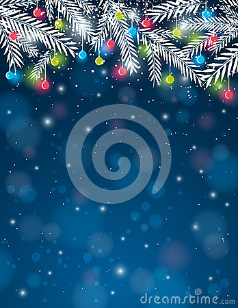 Background with  pine twig and christmas ball,  ve