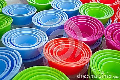 Background of plastic basins