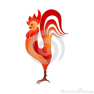 Background poster stylish cock, red. Rooster. Abstract rooster Vector Illustration