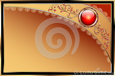 Background with precious stones, gold pattern for