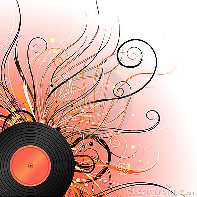 Background with record and swirls
