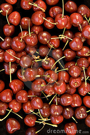 Background of red cherries