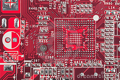 Background from red circuit board close up