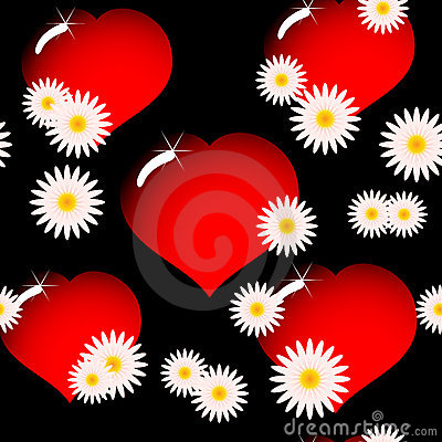 Background with red glass hearts and flowers