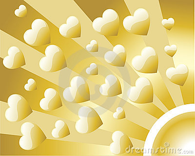 Background Retro Golden Heart