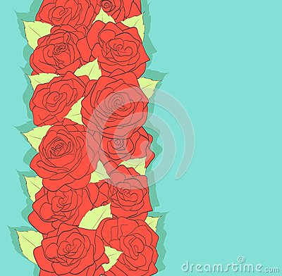 Background retro style. Using the old colors. Red roses and green leaves. antiquity