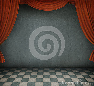 Background of the room with red curtains.