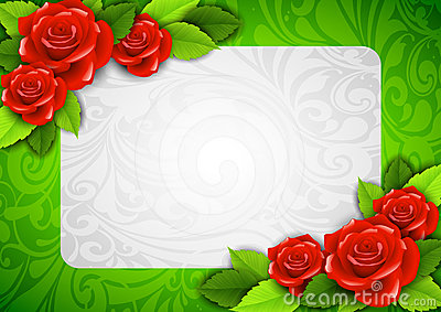 Background with roses and a place for text