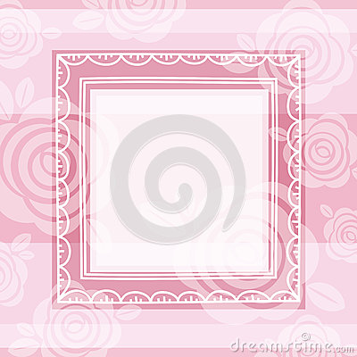 Background of roses and square frame, vector