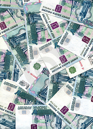 Background from  russian rubles Denomination