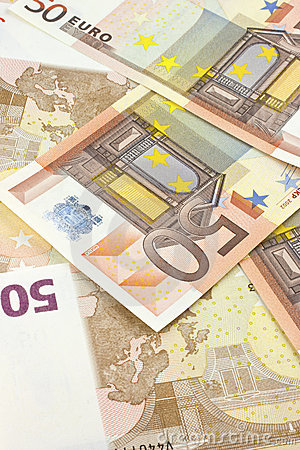 Background of scattered 50-euro banknotes.