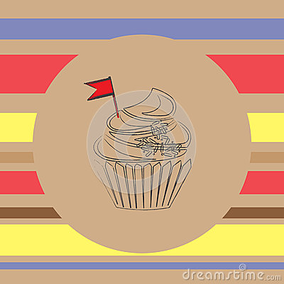 Background with scetch of cupcake