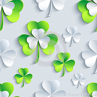 Free Background Seamless Pattern With 3d Patrick Clover Stock Images - 47623334
