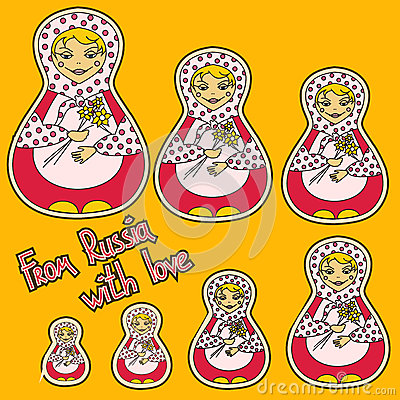 Background with set of Russian dolls matrioshka